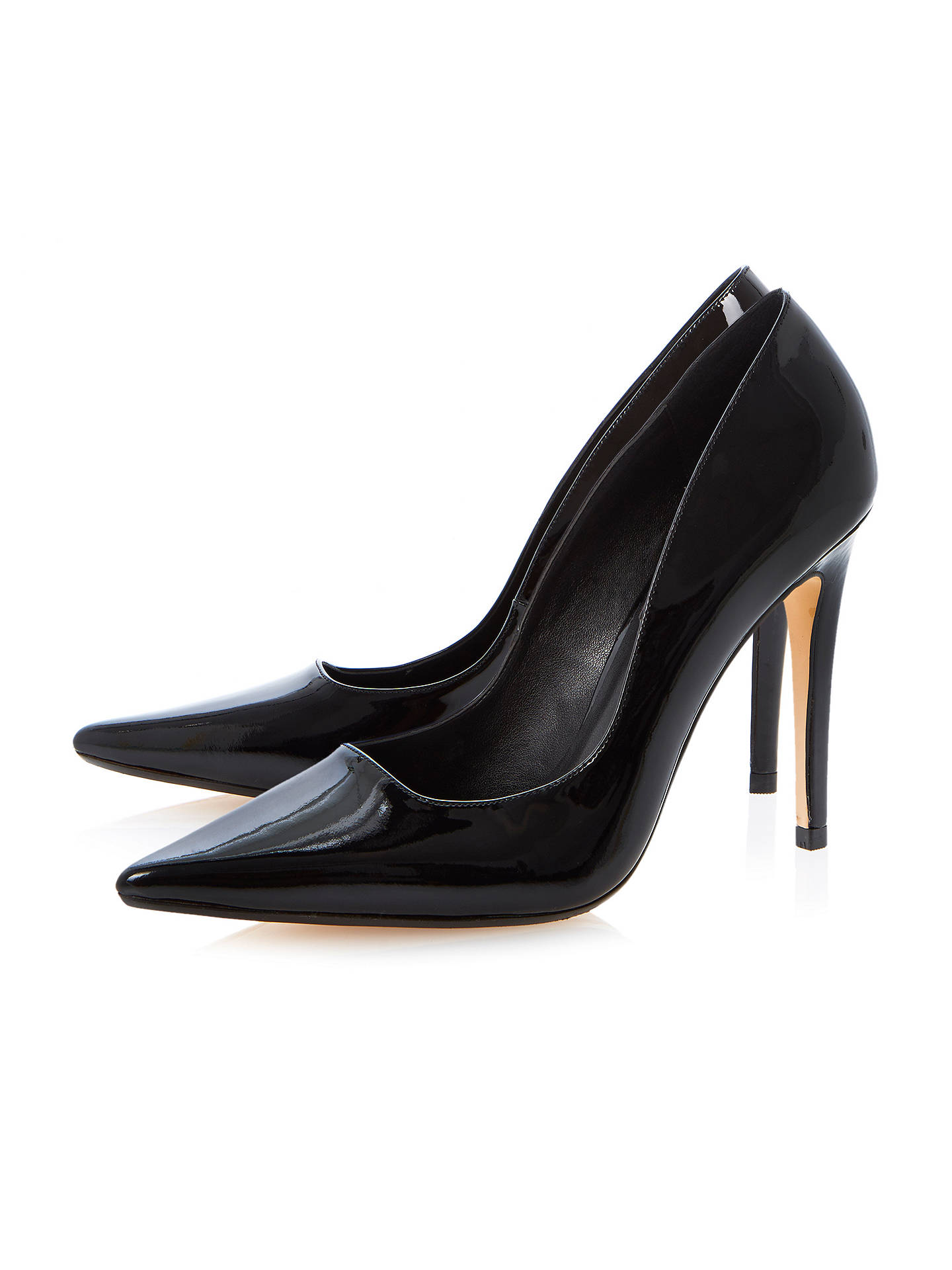 Buy Dune Brook Patent Ultra Slim Heel Extreme Pointed Toe Court Shoe, Black, 3 Online at johnlewis.com