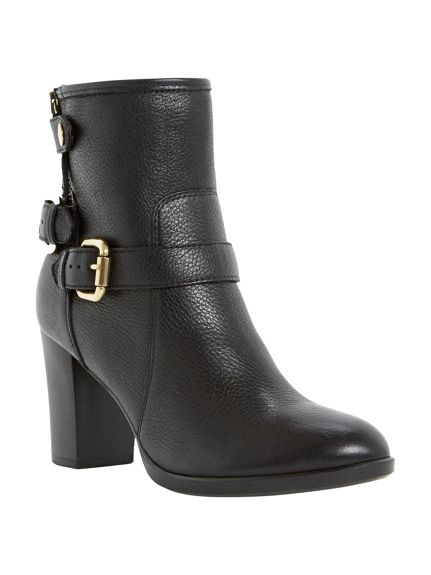 bde01b59cf9 Dune Pyramidd Leather Block Heeled Buckle Trim Ankle Boots at John ...