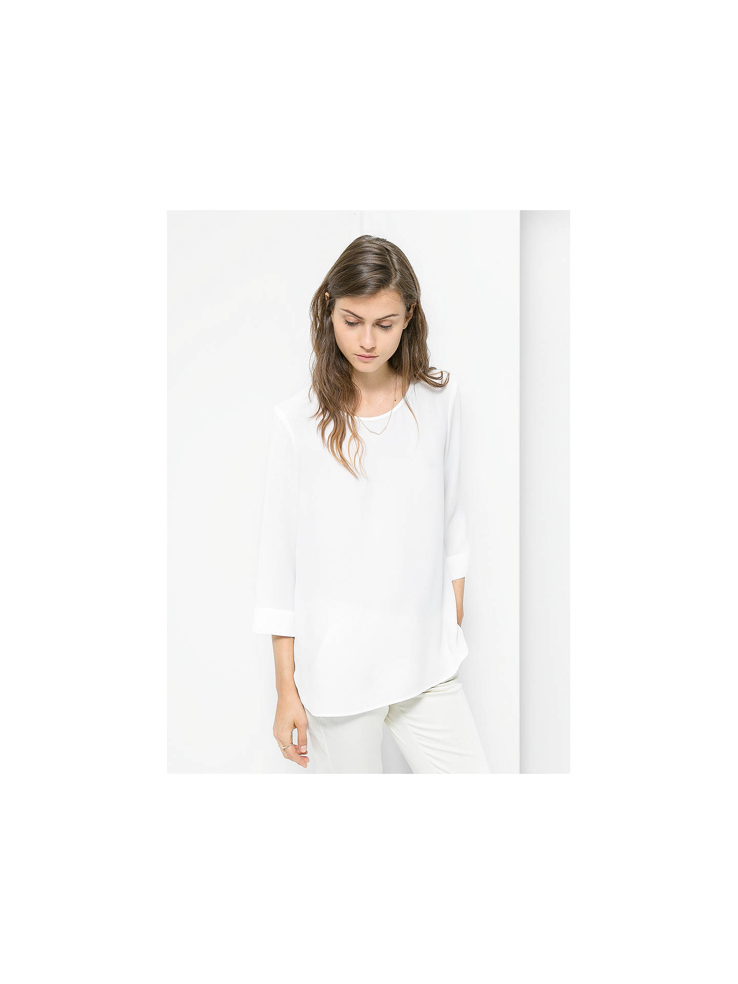 Buy Mango Crepe Flowy Blouse, Natural White, 6 Online at johnlewis.com