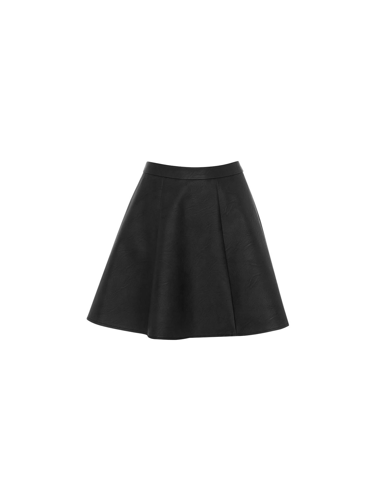 ba349327c582 Buy Oasis Bailey Faux Leather Skater Skirt, Black, 8 Online at  johnlewis.com ...