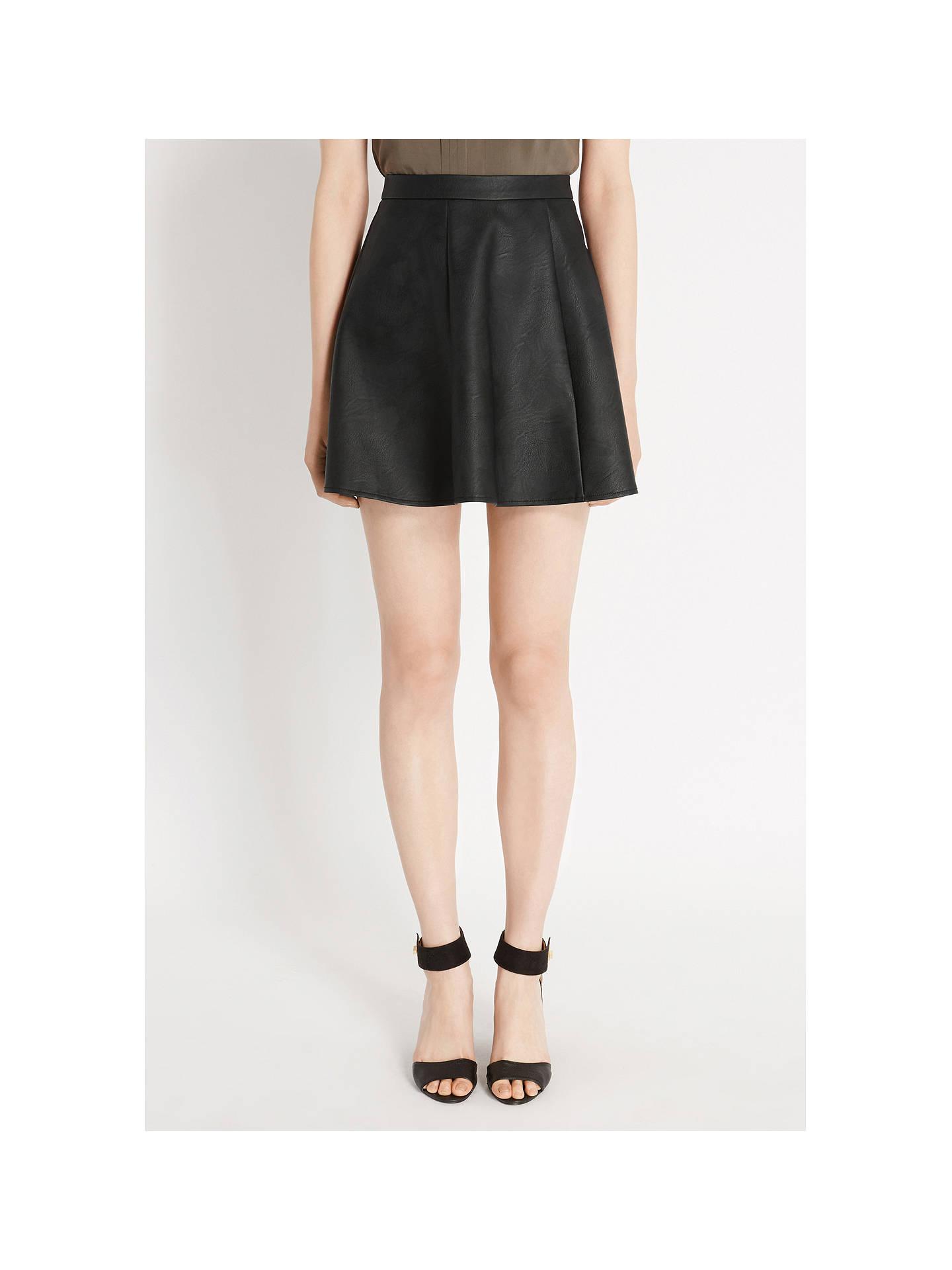 e26632c06529 ... Buy Oasis Bailey Faux Leather Skater Skirt, Black, 8 Online at  johnlewis.com ...
