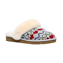 Buy UGG Cosy Knit Heart Printed Sheepskin Slippers, Grey Online at johnlewis.com