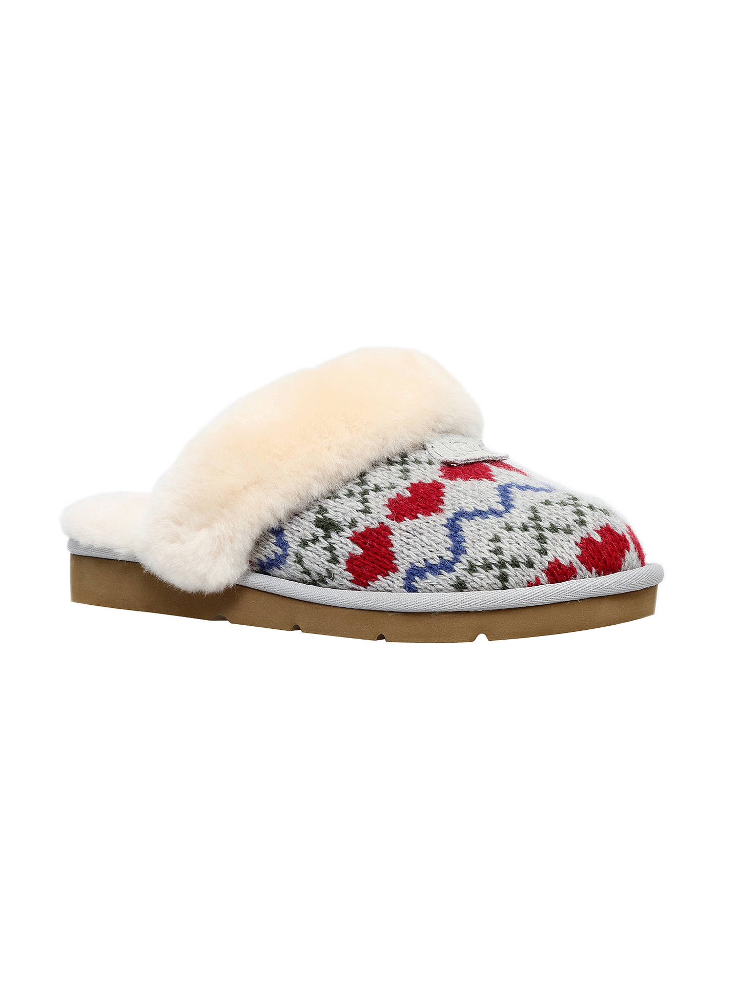 Ugg Cosy Knit Heart Printed Sheepskin Slippers Grey At John Lewis