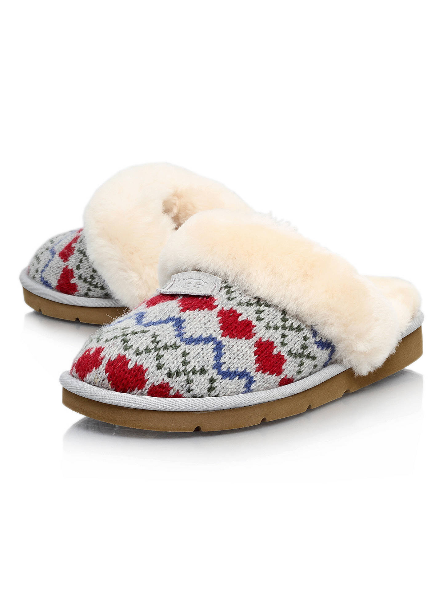 b1b06433e83 UGG Cosy Knit Heart Printed Sheepskin Slippers, Grey at John Lewis ...