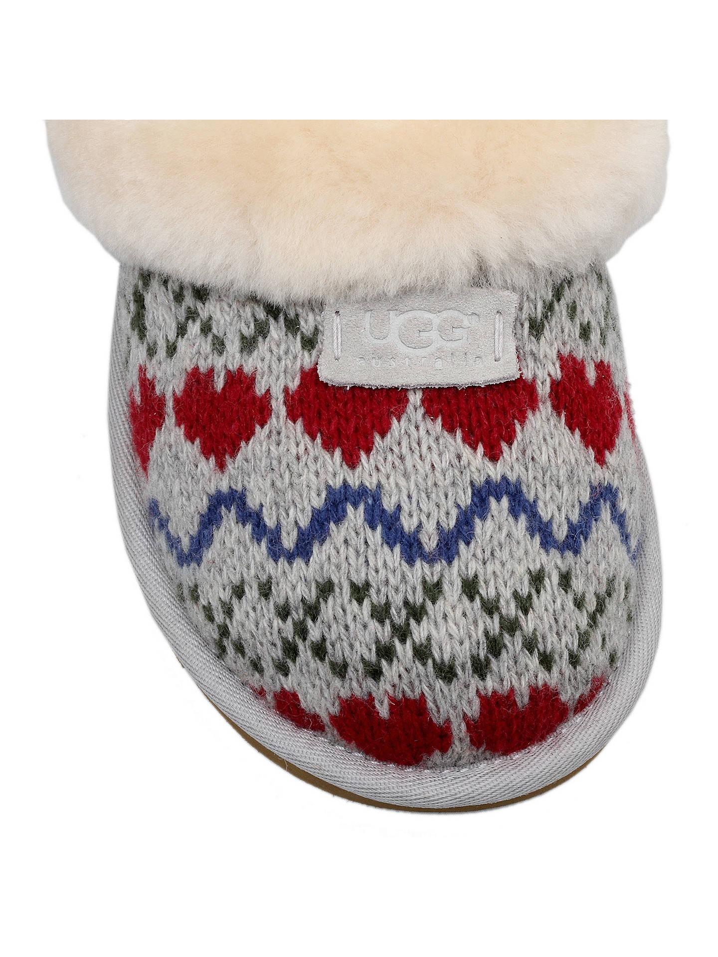 Ugg Cosy Knit Heart Printed Sheepskin Slippers Grey At John Lewis