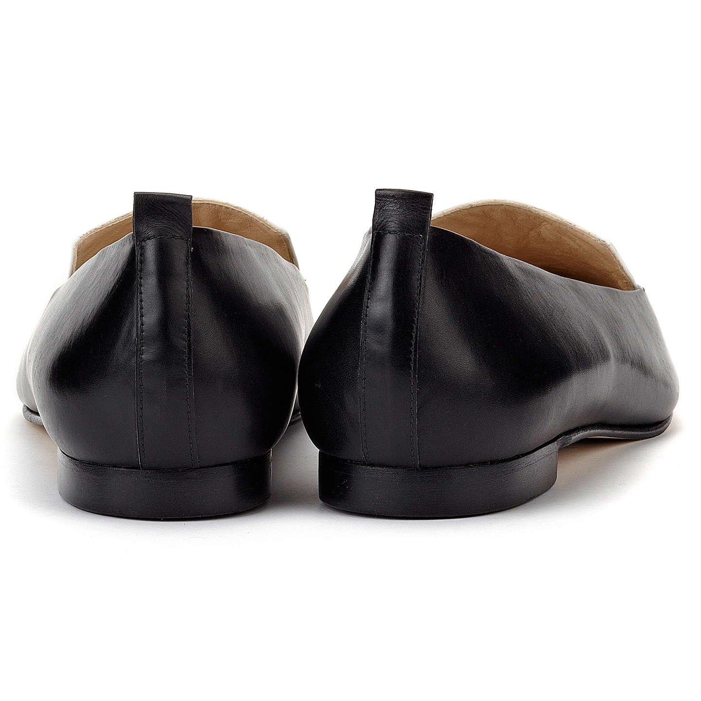 BuyWhistles Lexie Pointed Leather Loafers, Black / White, 3 Online at johnlewis.com