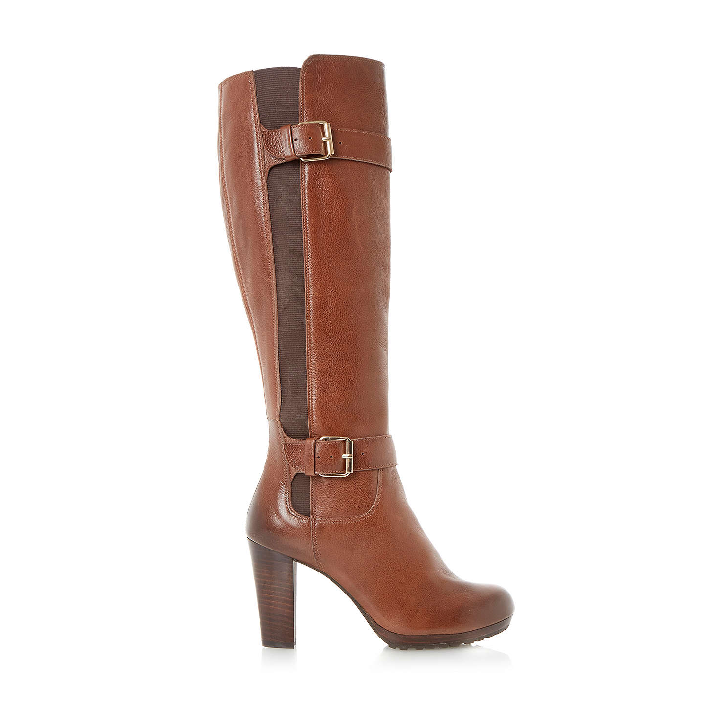 BuyDune Social Knee-High Leather Buckle Detail Boots, Tan, 3 Online at johnlewis.com