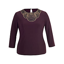 Buy Chesca Embellished 3/4 Sleeves Top, Aubergine Online at johnlewis.com