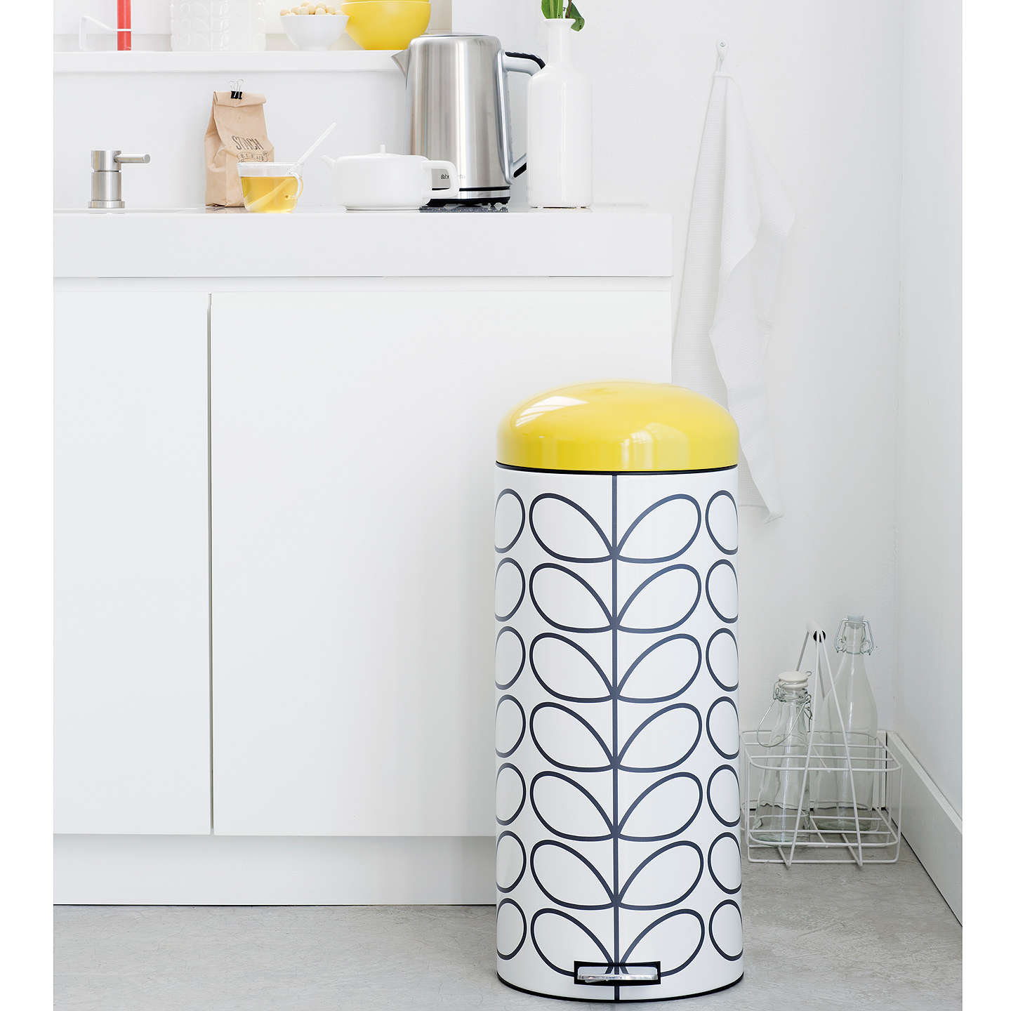 BuyBrabantia Orla Kiely Retro Bin, Cream, 12L Online at johnlewis.com