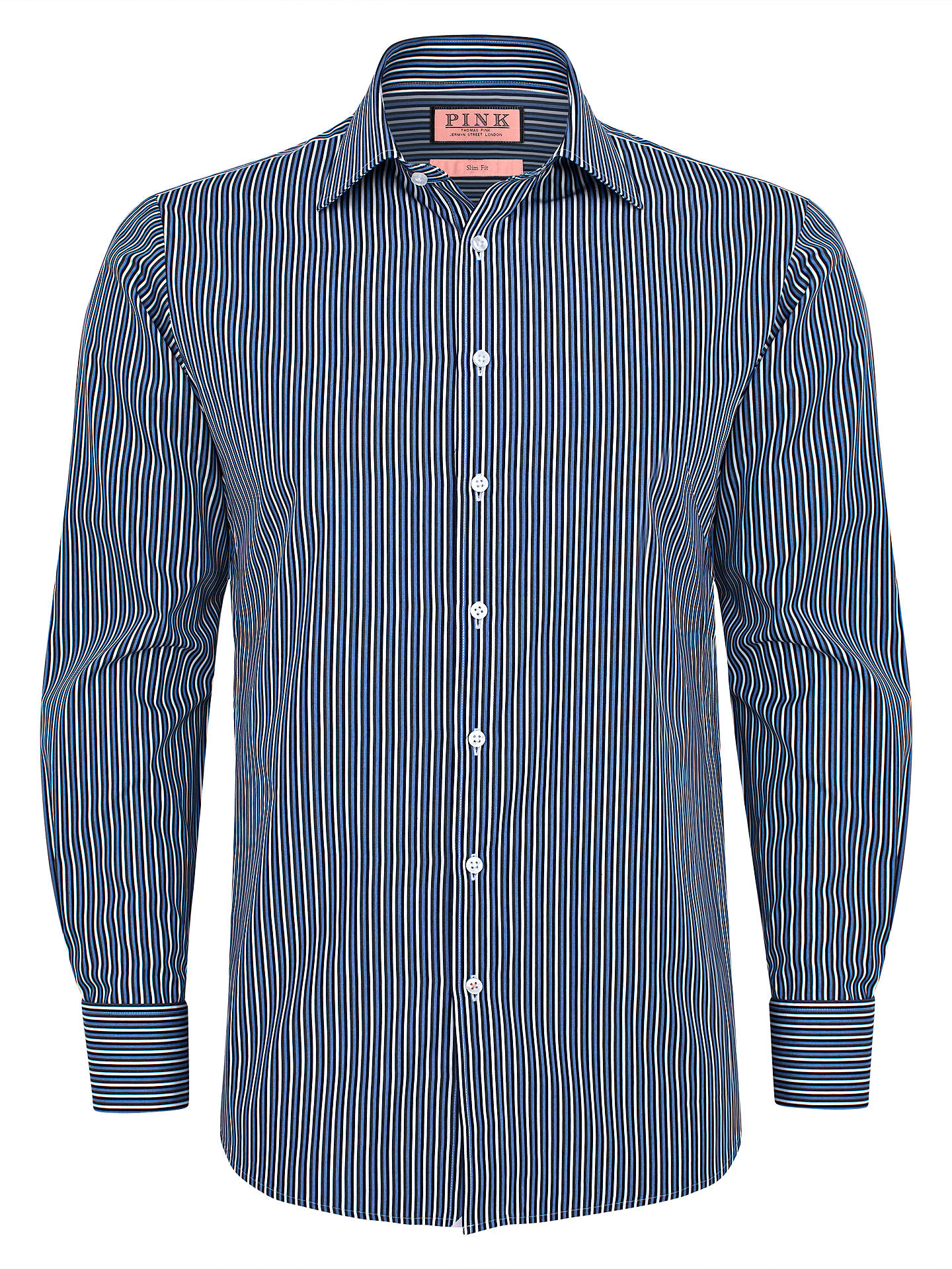 74e8c041a9b3e1 Buy Thomas Pink Canal Stripe Double Cuff Shirt, White/Navy, 14 Online at ...