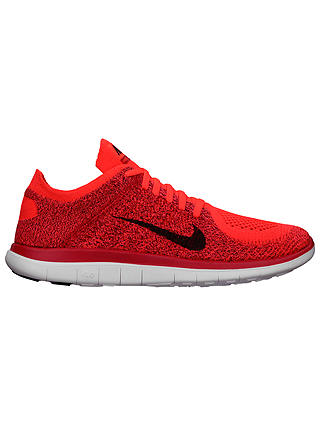 Nike Free 4 0 Flyknit Men S Running Shoes Bright Crimson University Red At John Lewis Partners