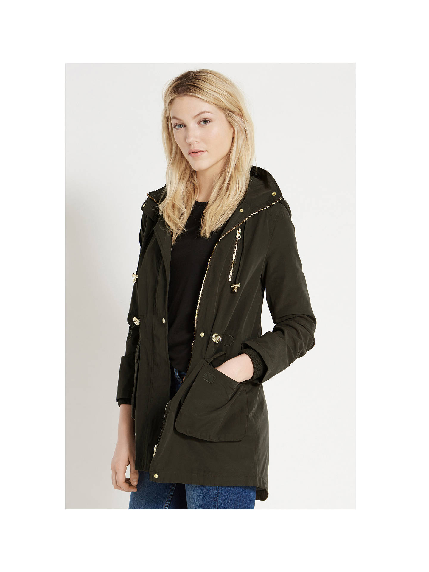35a30117a73f ... Buy Oasis Charlie Lightweight Parka Jacket, Khaki, S Online at  johnlewis.com ...