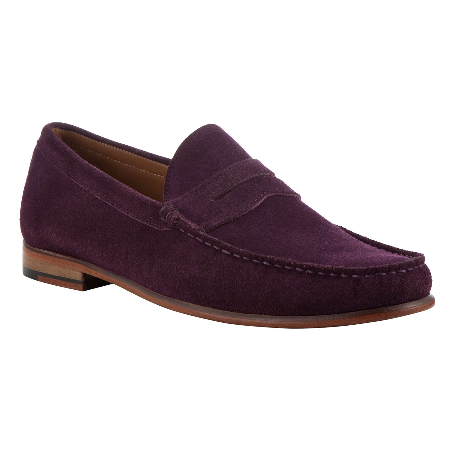 BuyJohn Lewis Lloyd Suede Penny Loafers, Aubergine, 7 Online at johnlewis.com