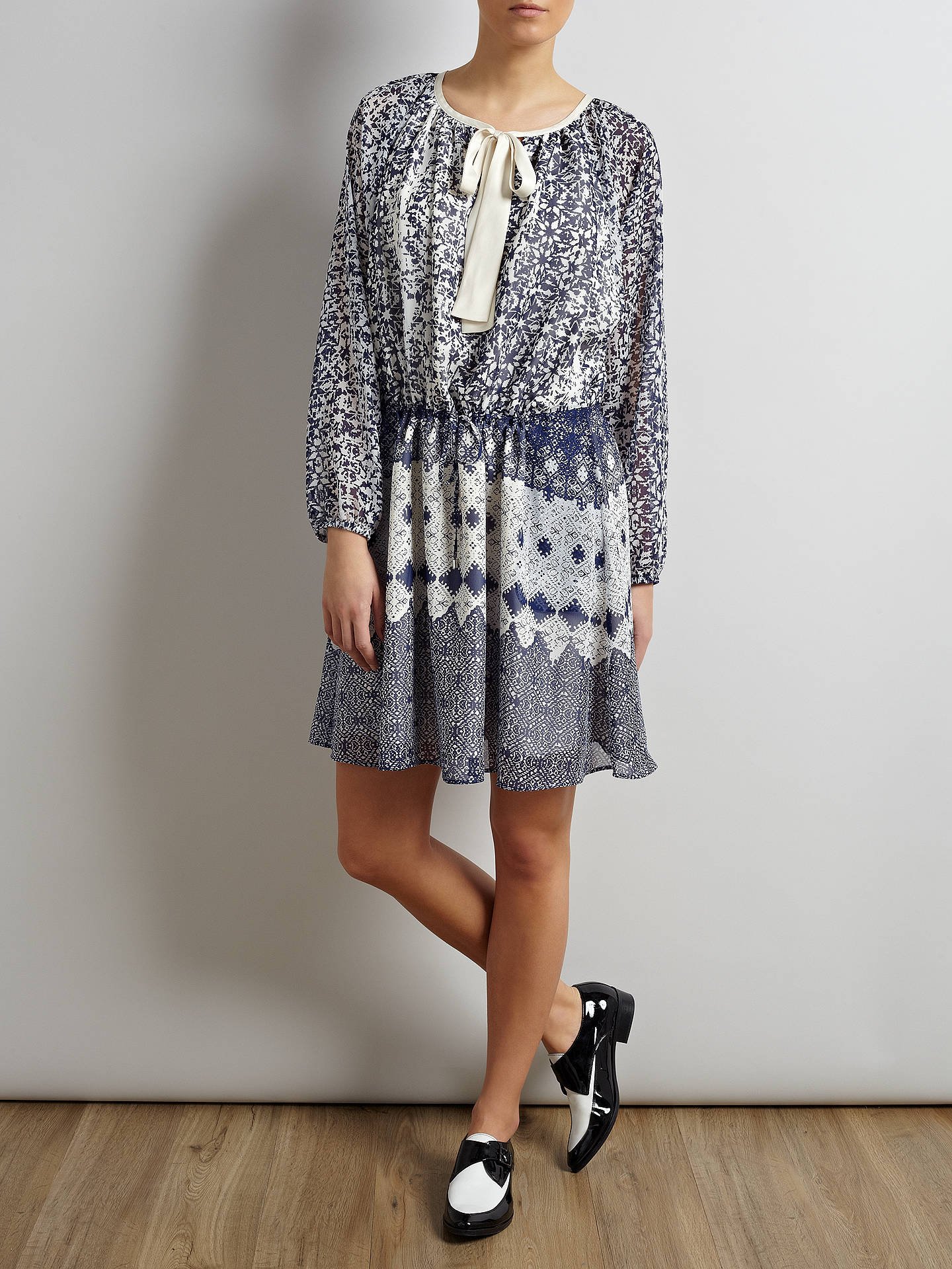 Buy Somerset by Alice Temperley Tie Waist Tile Dress, Blue, 8 Online at johnlewis.com