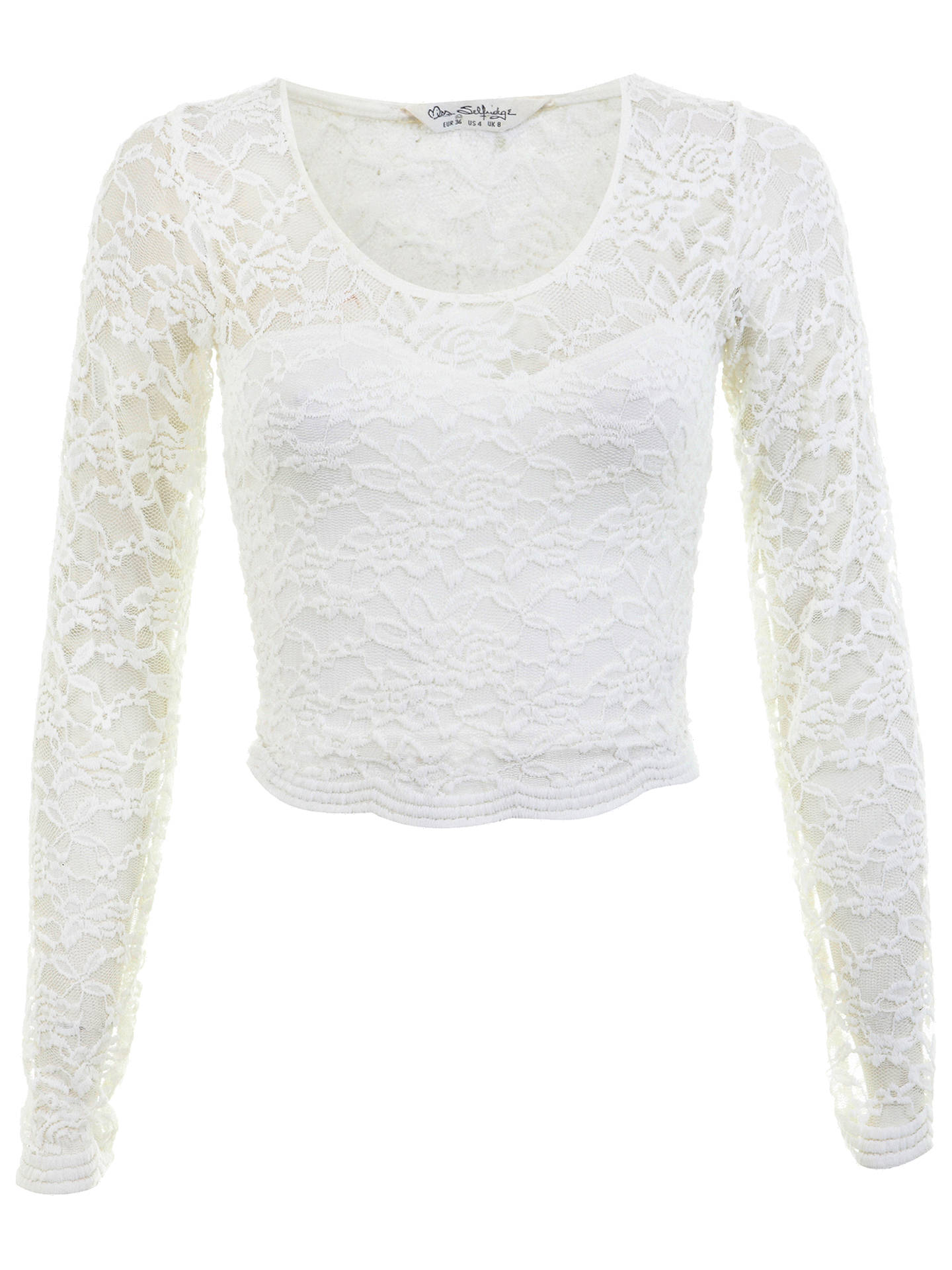 BuyMiss Selfridge Long Sleeve Scallop Lace Crop Top, Cream, 6 Online at johnlewis.com