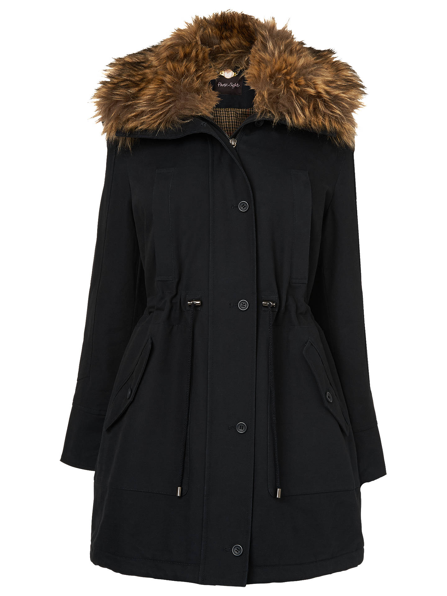 Buy Phase Eight Faye Fur Trim Parka Coat, Navy, 8 Online at johnlewis.com