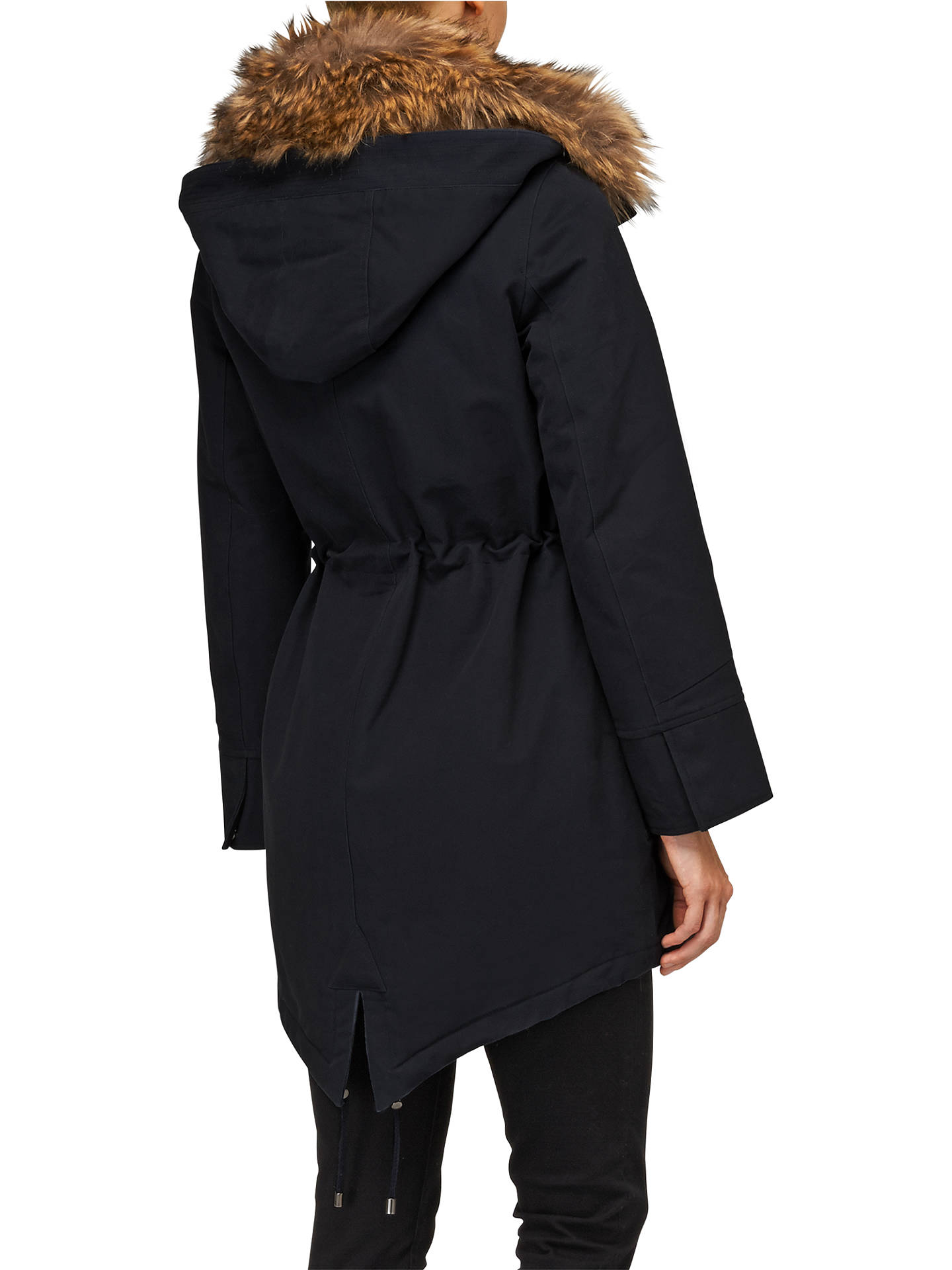 BuyPhase Eight Faye Fur Trim Parka Coat, Navy, 8 Online at johnlewis.com