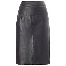 Buy Whistles Kel Leather Pencil Skirt, Black Online at johnlewis.com