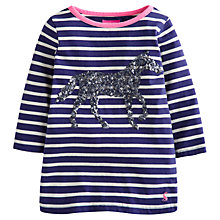 Buy Little Joule Girls' Ava Sequin Horse Motif Top, Blue/White Online at johnlewis.com