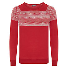 Buy John Smedley Alnwick Fair Isle Jumper, Sorrel Red/White Online at johnlewis.com