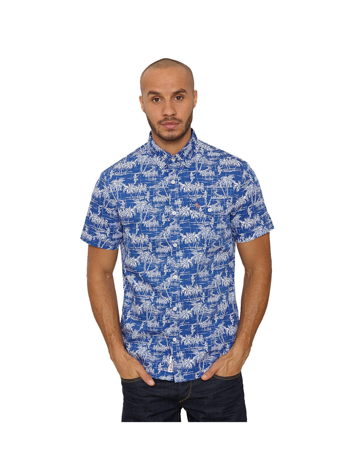 d20c0231 Buy Original Penguin Hawaiian Tiki Print Short Sleeve Shirt, Mazarine Blue,  S Online at ...