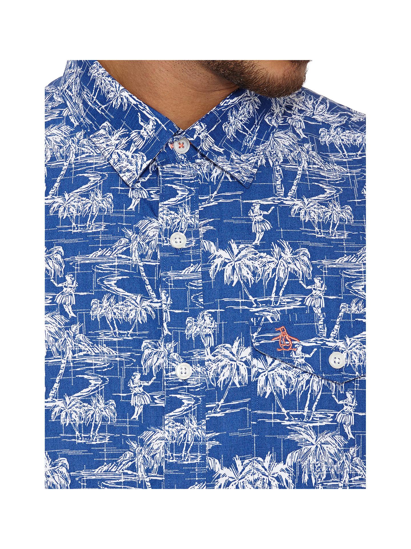 2d3e1d0e ... Buy Original Penguin Hawaiian Tiki Print Short Sleeve Shirt, Mazarine  Blue, S Online at ...