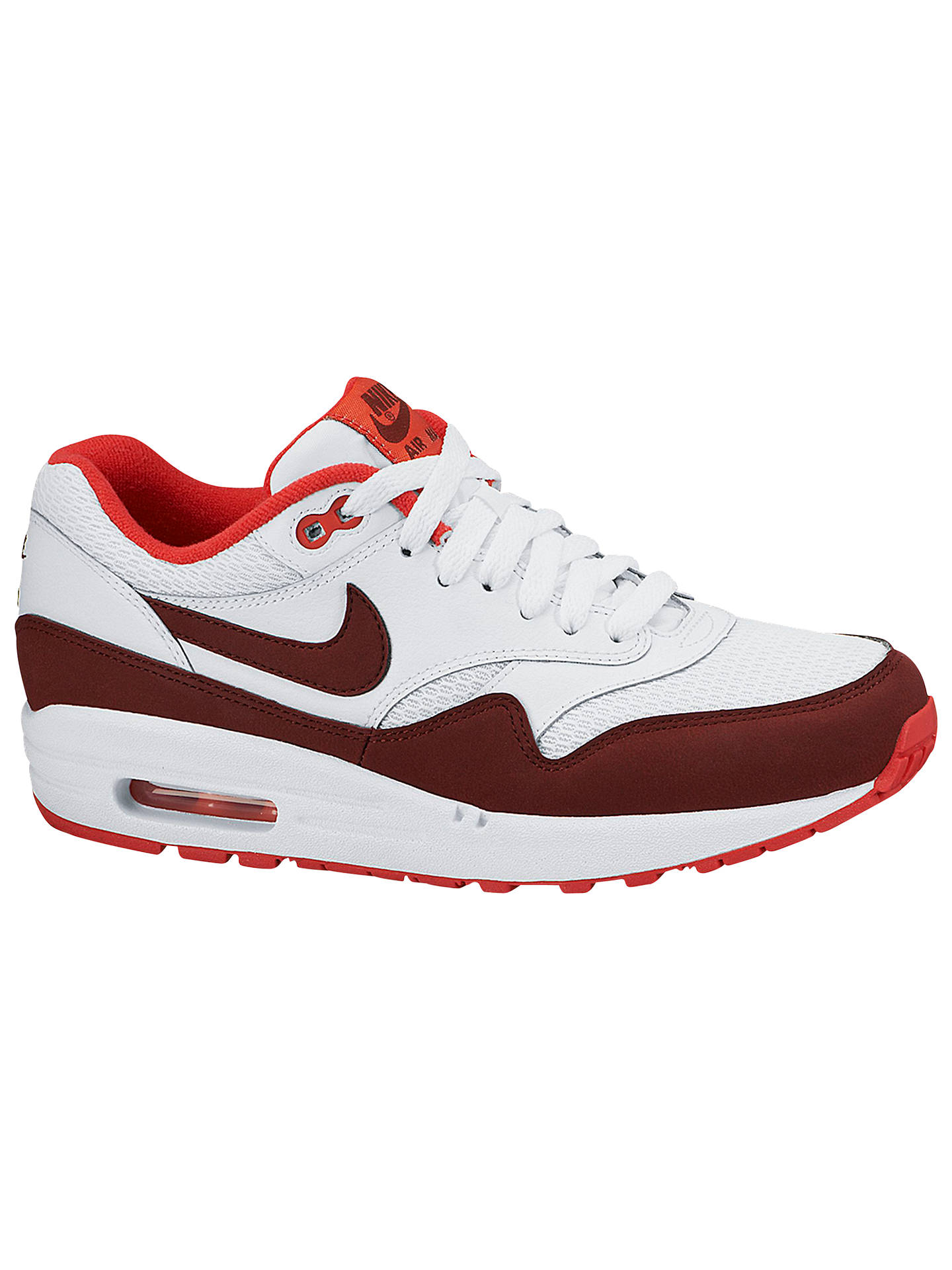 low priced f07ff 2670a BuyNike Air Max 1 Essential Leather Womens Trainers, WhiteTeam Red, 3  Online ...