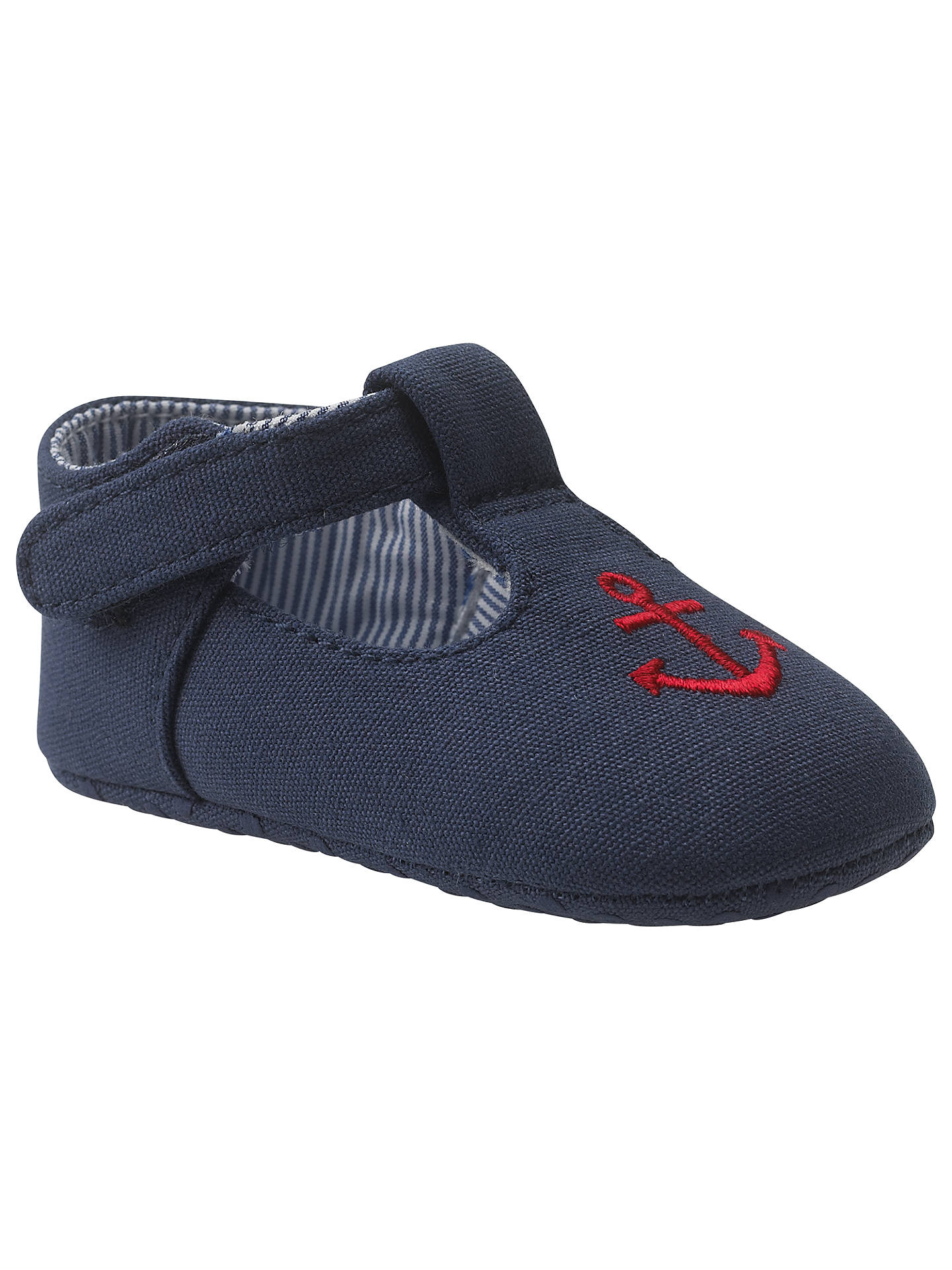 Buy John Lewis Anchor T-Bar Booties, Navy, 0-3 months Online at johnlewis.com