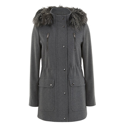Buy Mint Velvet Faux Fur Hood Parka, Grey Online at johnlewis.com