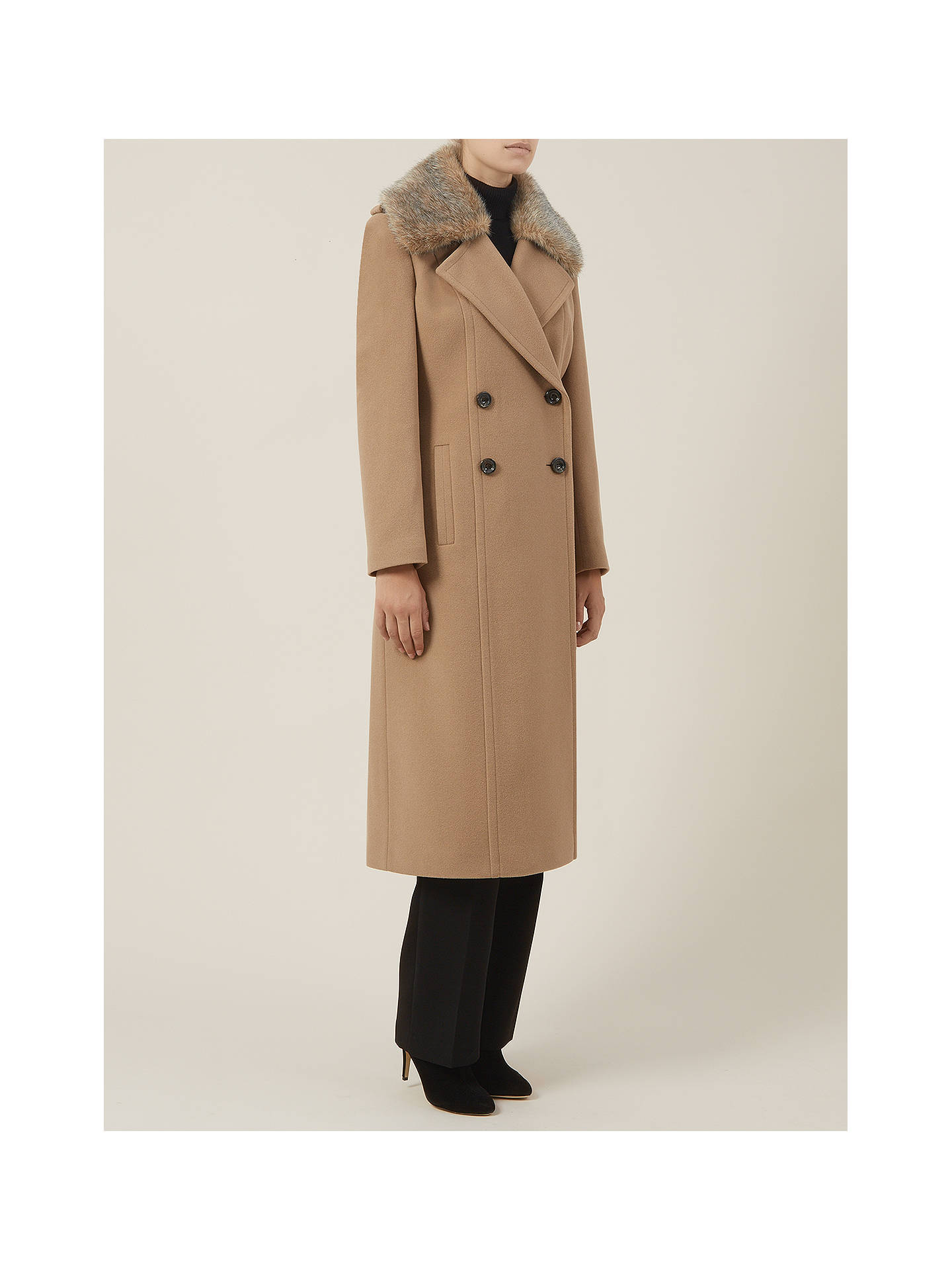 BuyPlanet Double-Breasted Faux Fur Coat, Camel, 8 Online at johnlewis.com