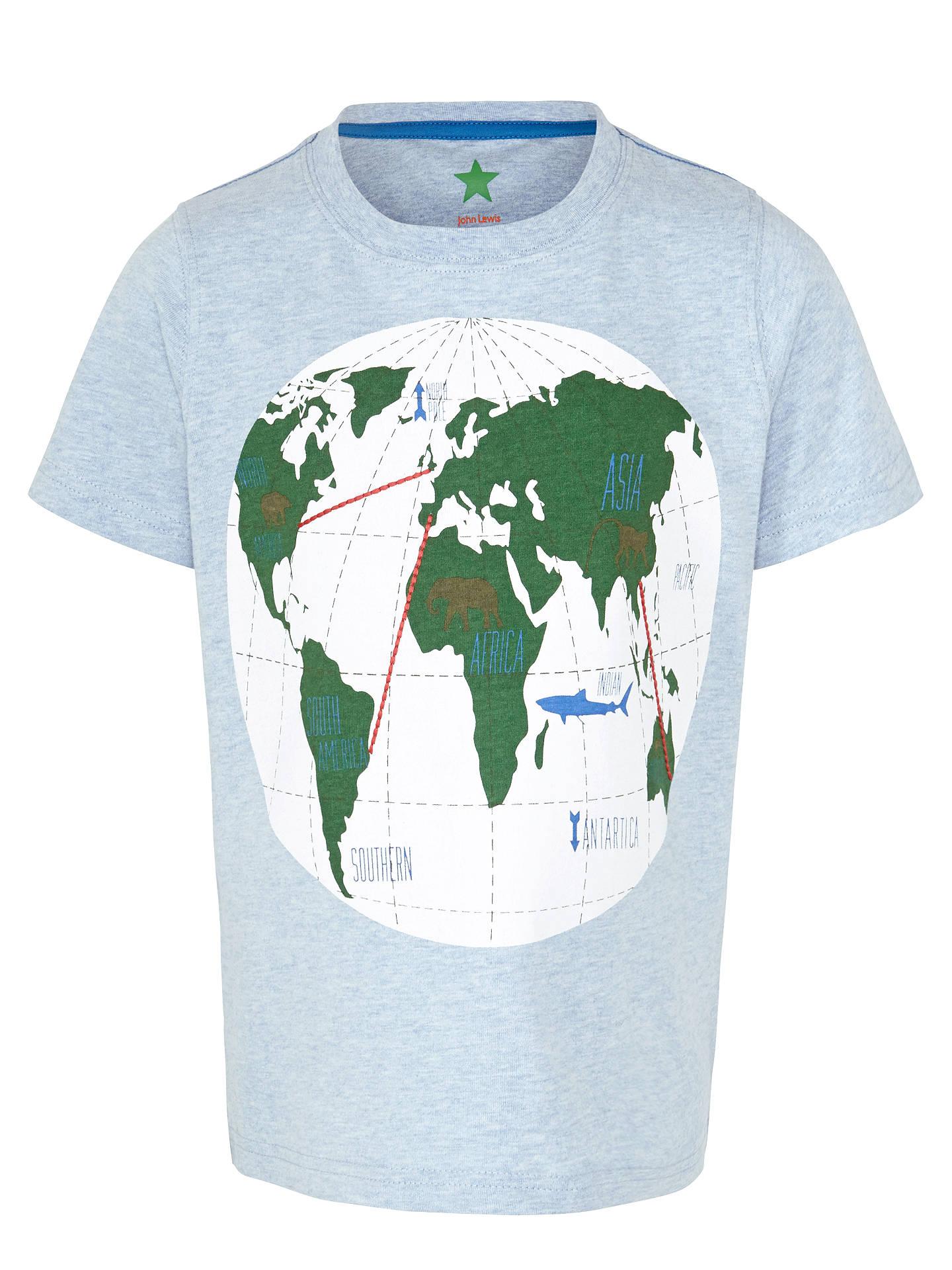 John Lewis Boy World Map Graphic T Shirt Blue At John Lewis Partners