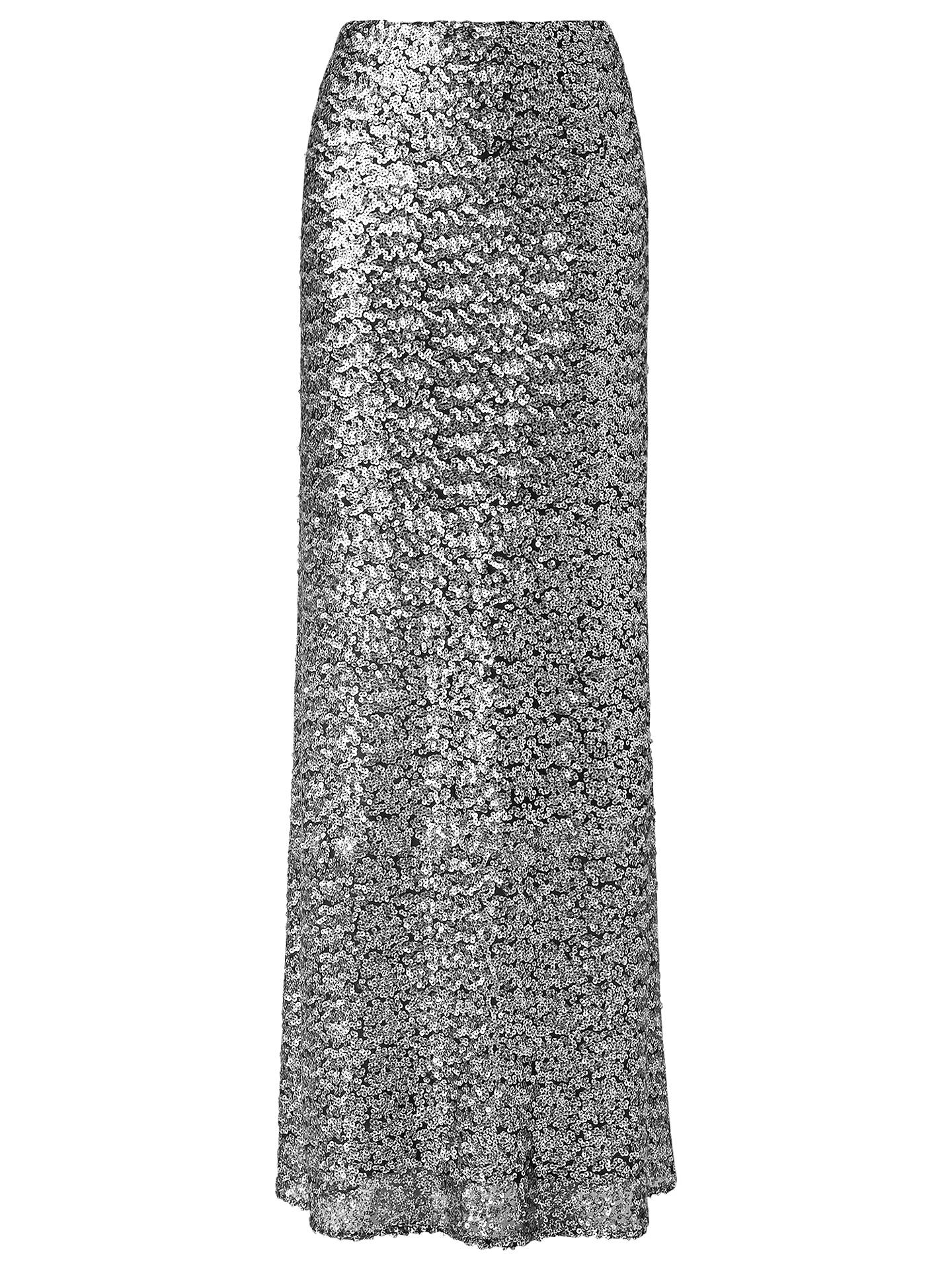 9dcbc27f38 Buy Phase Eight Shimmer Sequin Maxi Skirt, Silver, 8 Online at  johnlewis.com ...
