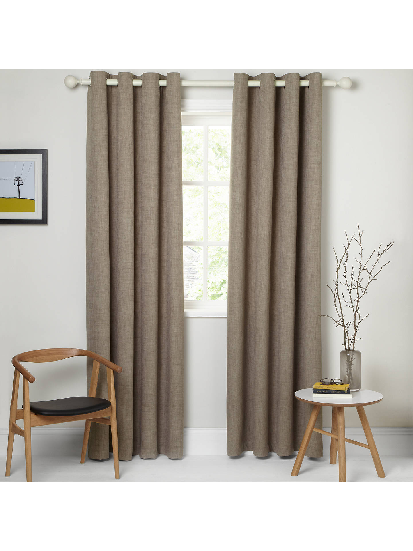 BuyJohn Lewis & Partners Barathea Pair Lined Eyelet Curtains, Mocha, W135 x Drop 137cm Online at johnlewis.com