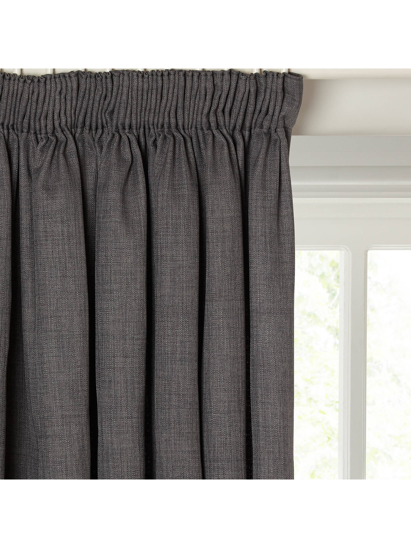 Buy John Lewis & Partners Barathea Pair Blackout Lined Pencil Pleat Curtains, Steel, W117 x Drop 228cm Online at johnlewis.com