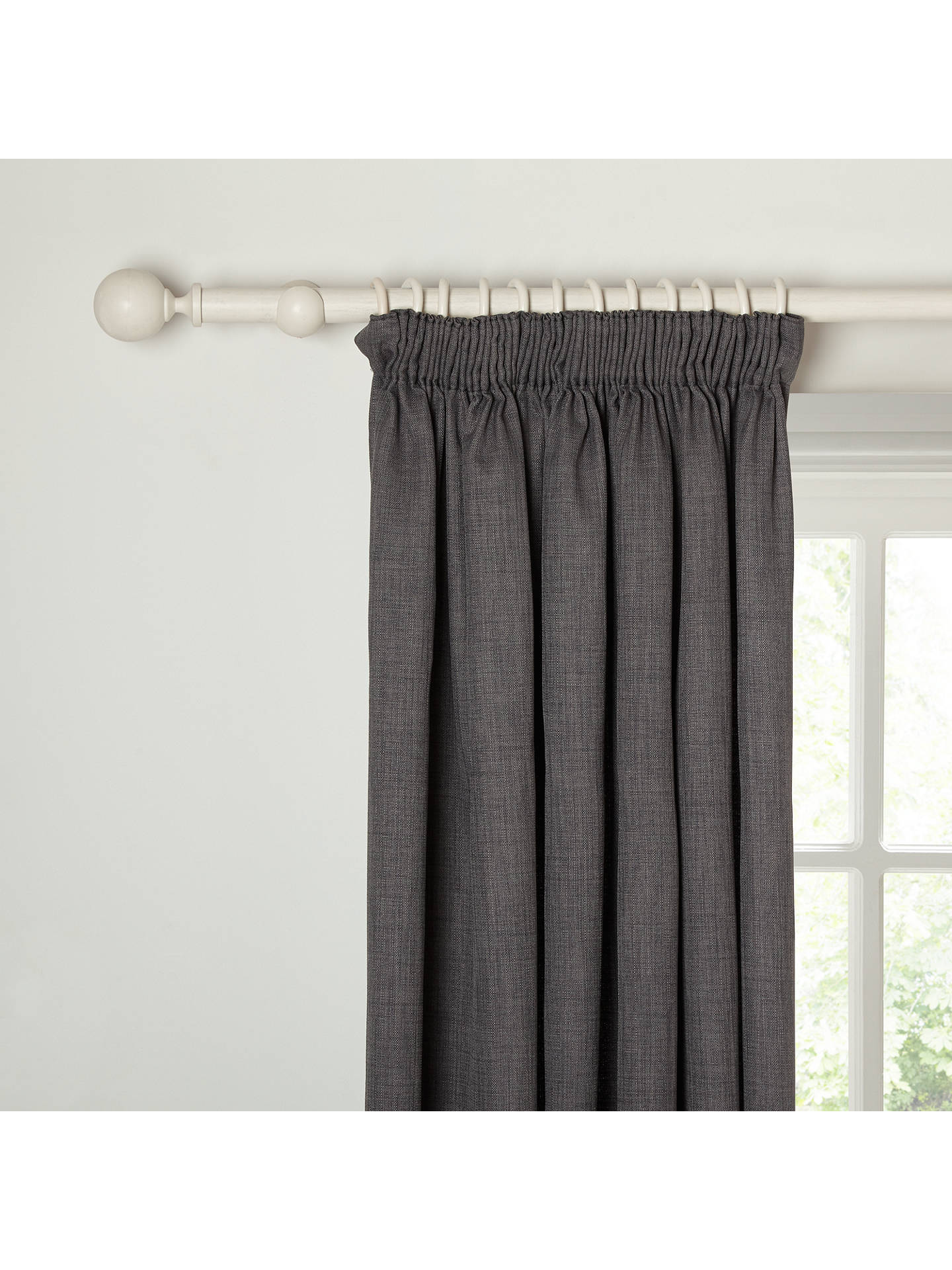 Buy John Lewis & Partners Barathea Pair Blackout Lined Pencil Pleat Curtains, Steel, W228 x Drop 182cm Online at johnlewis.com