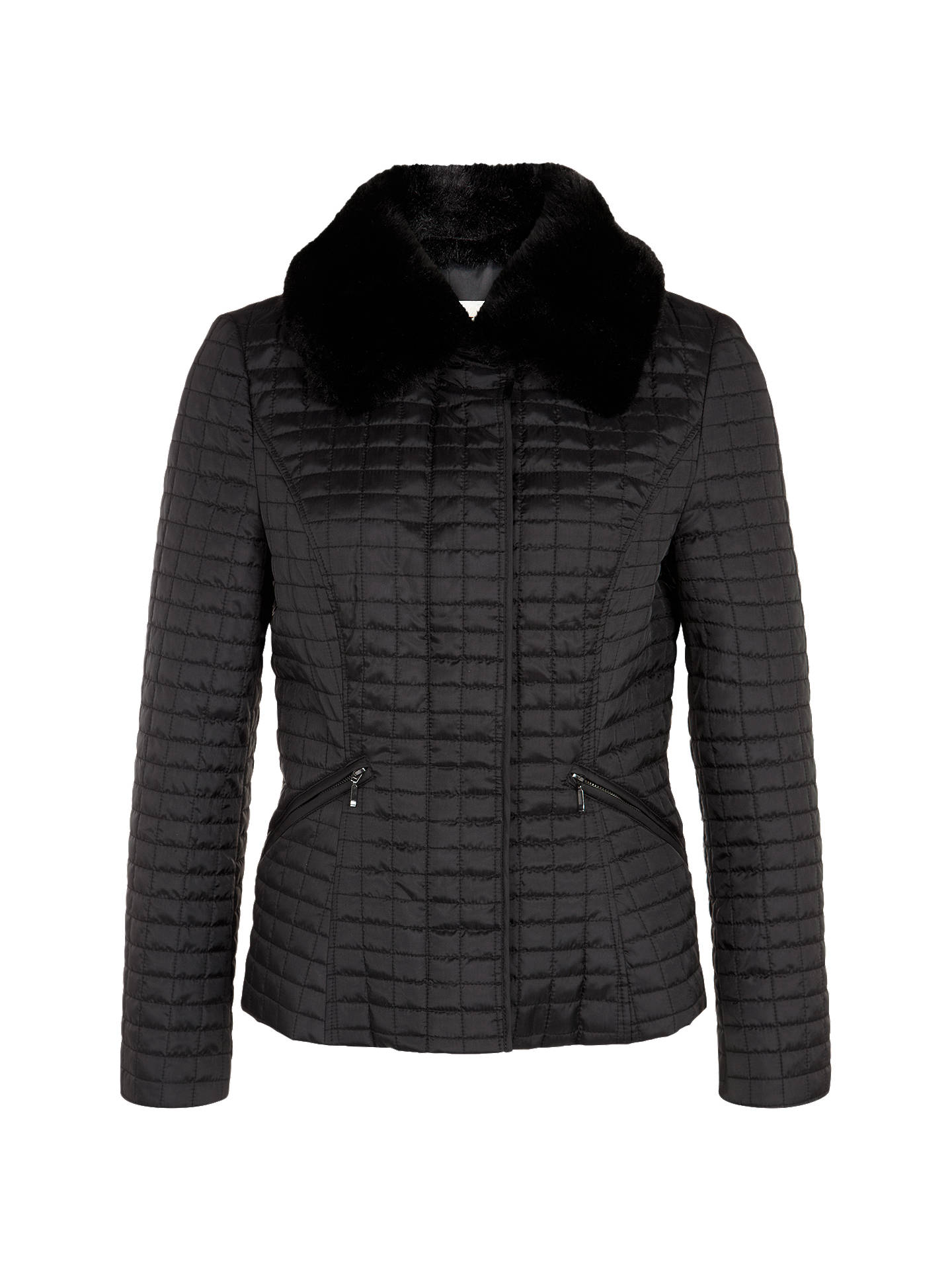 c87bfb13484b5 Buy Precis Petite Short Quilted Jacket with Faux Fur Collar, Black, 6  Online at ...