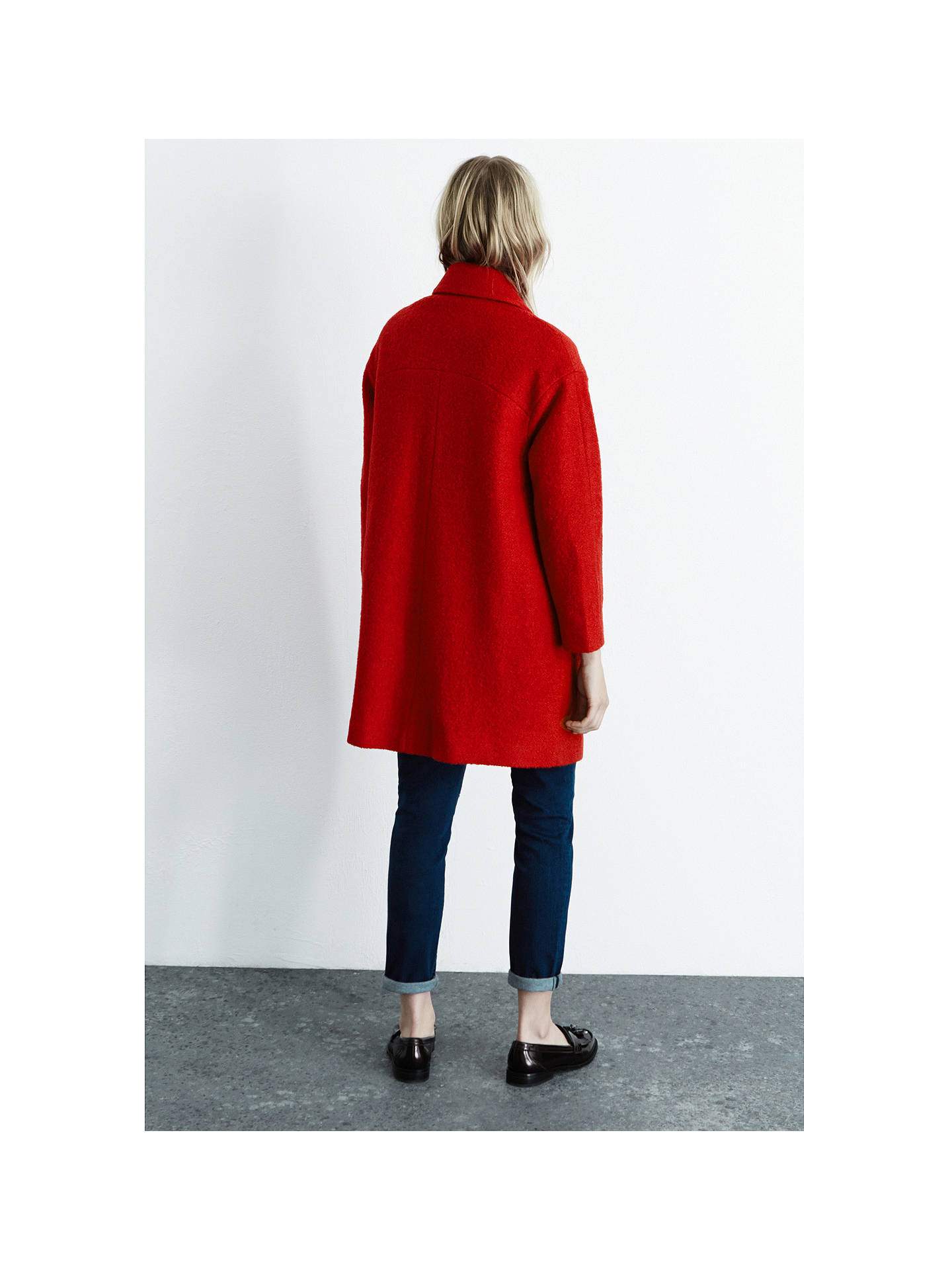 Bright Red BOUCLE COAT | Boucle coat