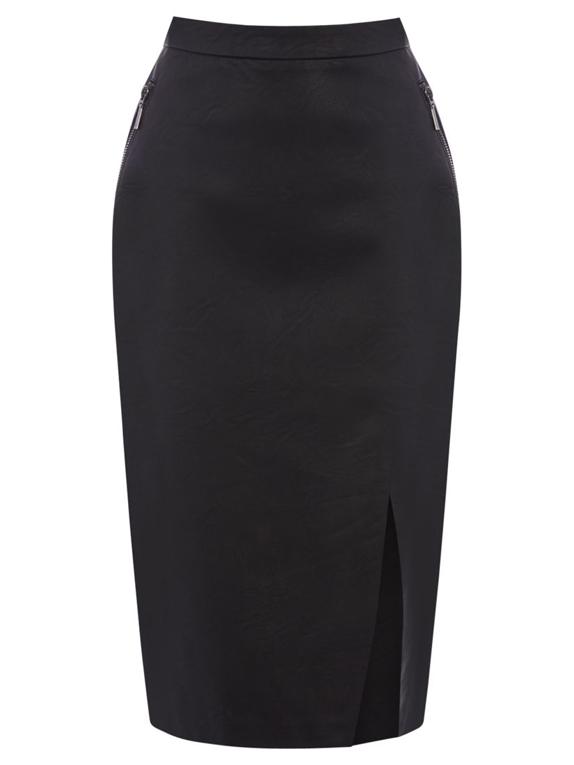 aab34346df Oasis Pippa Faux Leather Pencil Skirt, Black at John Lewis & Partners
