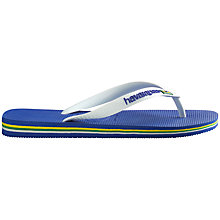 Buy Havaianas Brasil Logo Flip Flops, Blue/White Online at johnlewis.com