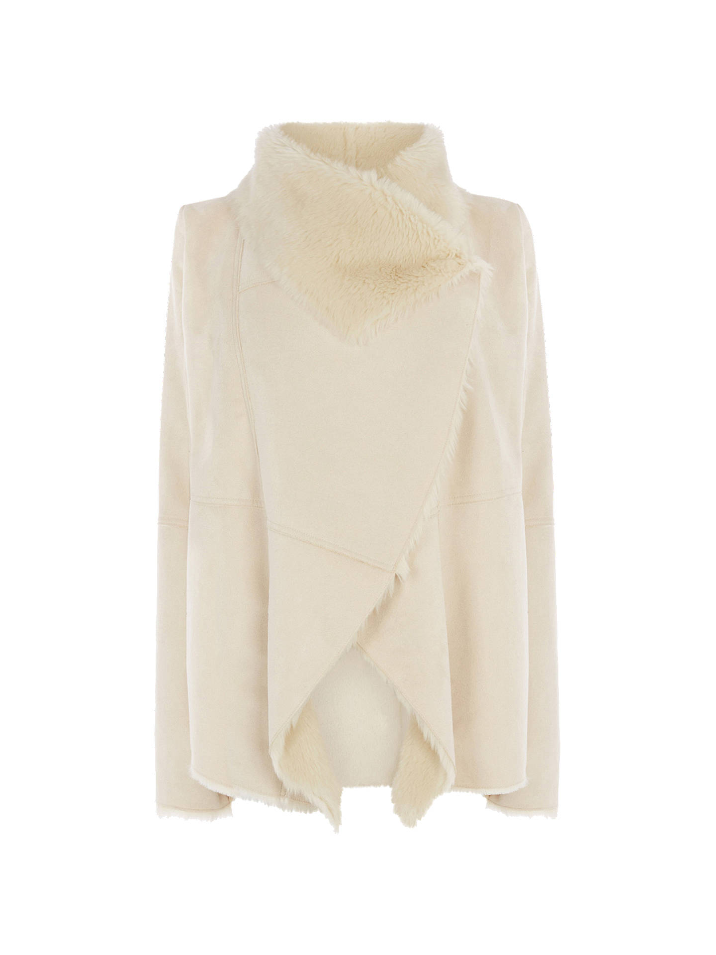 a3f383847 Oasis Cassie Faux Shearling Drape Jacket, Cream at John Lewis & Partners