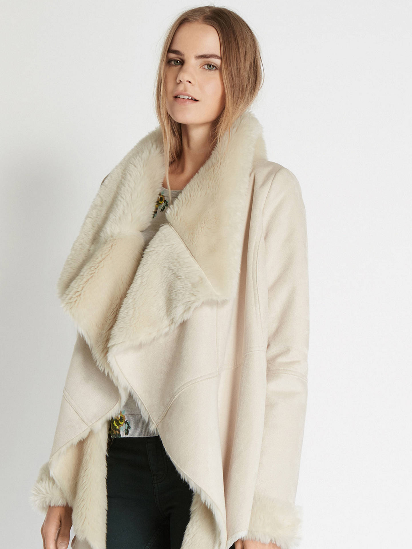 8fac923622db ... Buy Oasis Cassie Faux Shearling Drape Jacket, Cream, XS Online at  johnlewis.com ...