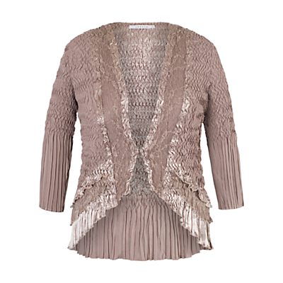 Steampunk Tops | Blouses, Shirts Chesca Crush Pleat Lace and Satin Trim Shrug Pale Mink £105.00 AT vintagedancer.com
