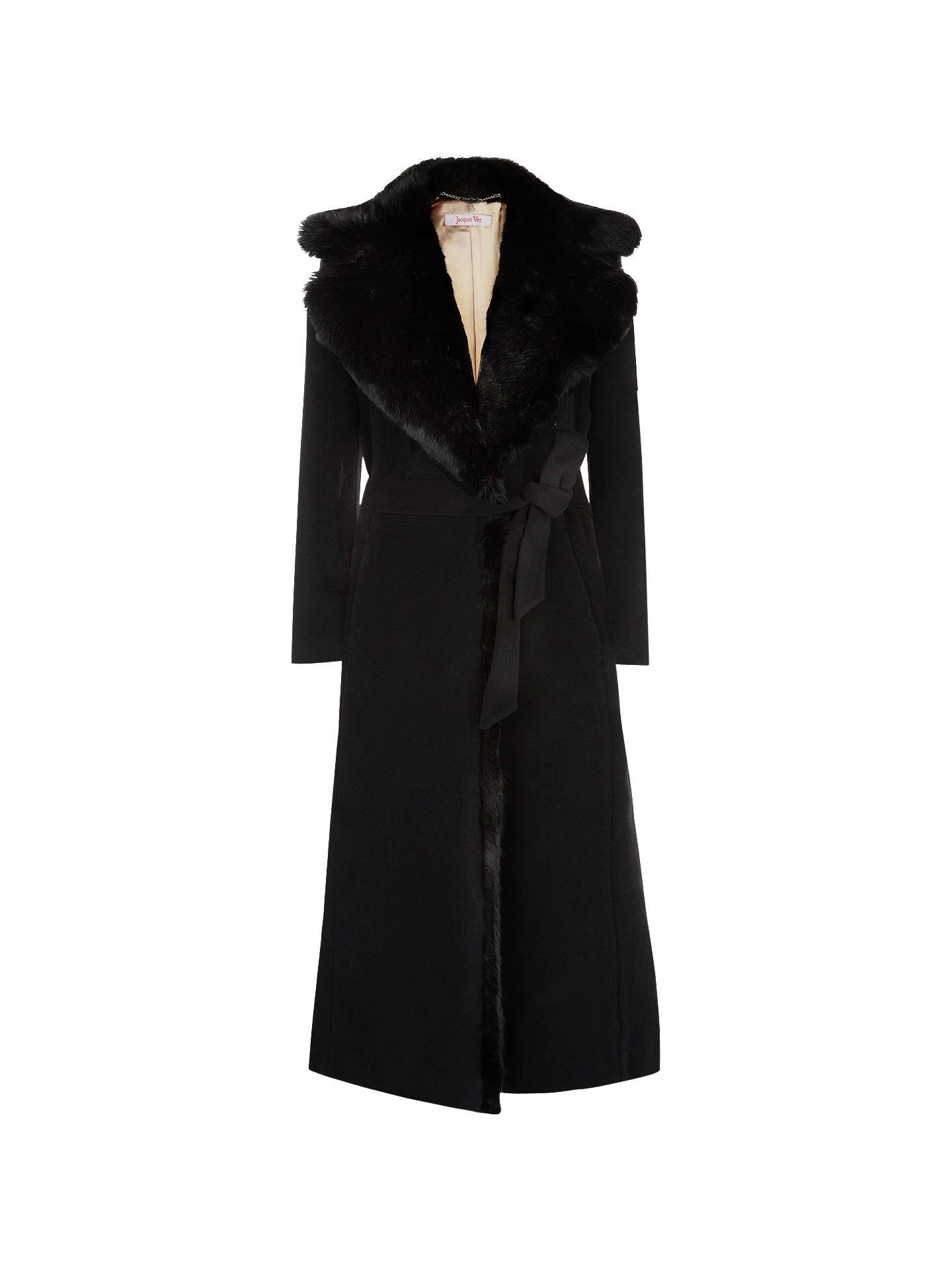 2b9cfce04 Buy Jacques Vert Long Faux Fur Collar Wrap Coat, Black, 8 Online at  johnlewis ...