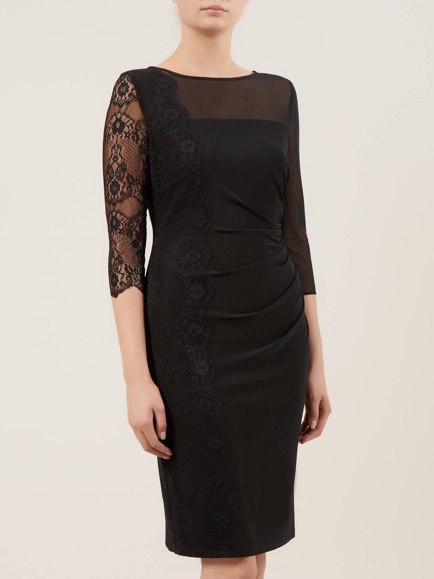 b680a82401b ... Buy Kaliko Lace Panel Jersey Dress, Black, 8 Online at johnlewis.com ...