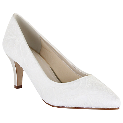 Vintage Style Wedding Shoes, Boots, Flats, Heels Rainbow Club Britt Lace Occasion Courts Ivory £85.00 AT vintagedancer.com