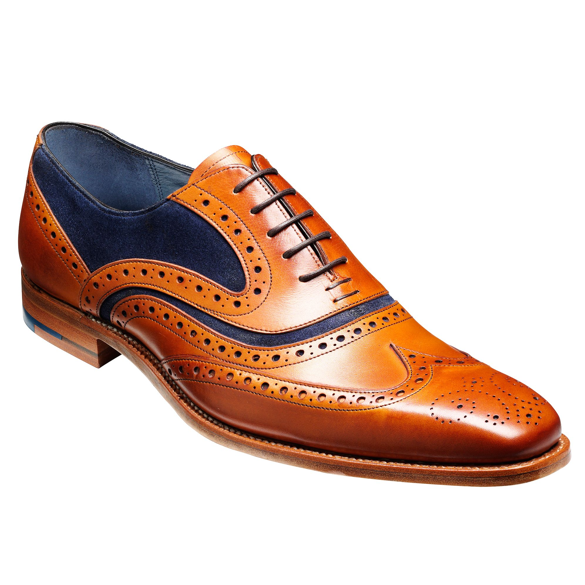 Barker Barker McClean Goodyear Welted Leather Brogue Shoes, Cedar/Blue
