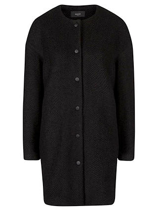 Buy Mango Straight Cut Bouclé Coat, Black, XS Online at johnlewis.com