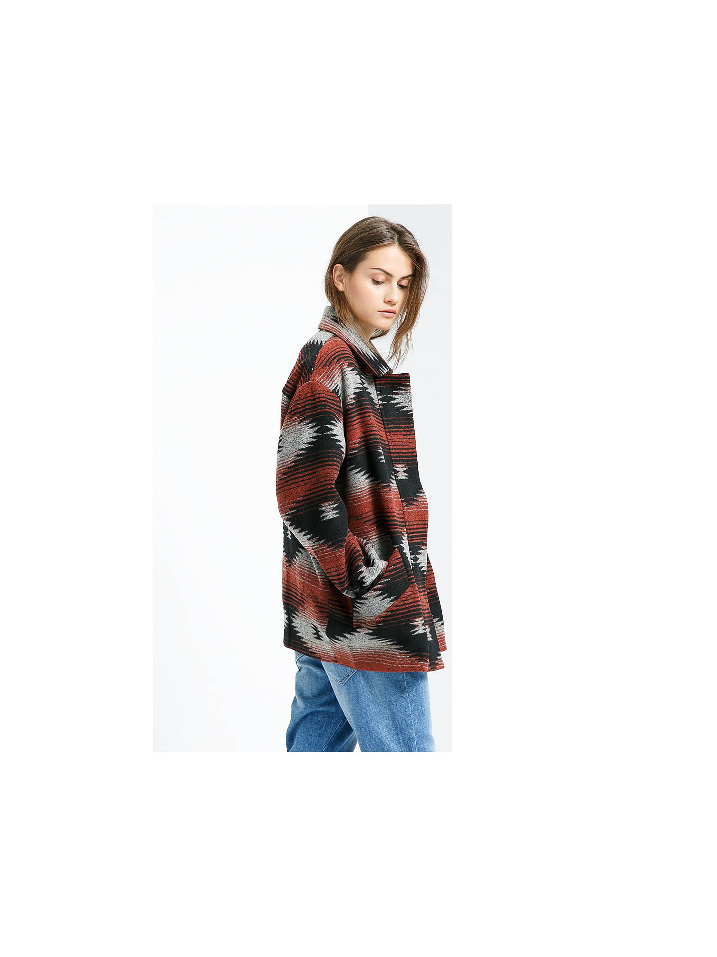 Buy Mango Wool Blend Cocoon Coat, Dark Red, XS Online at johnlewis.com