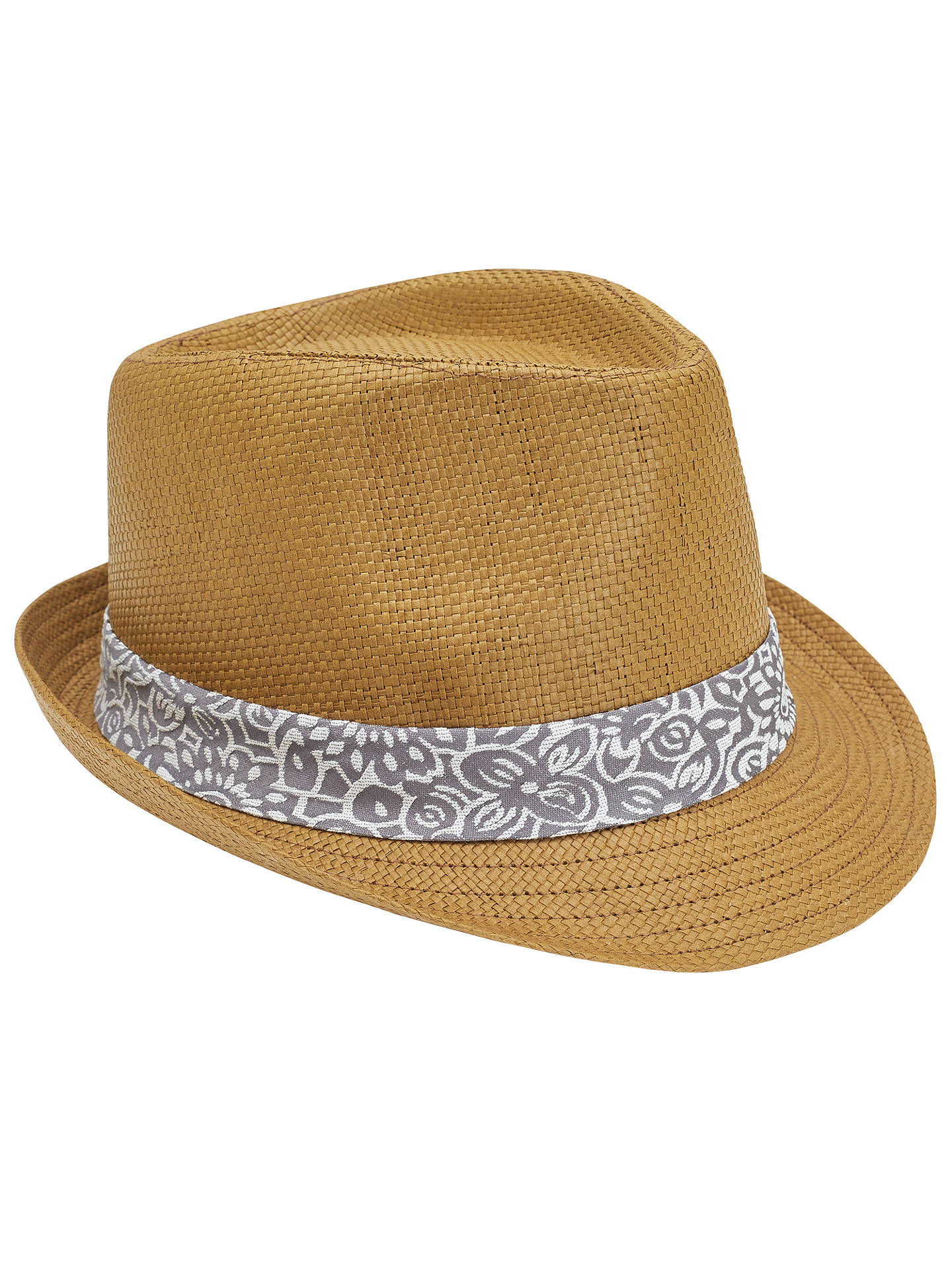 ab63c4c2067577 Buy Ted Baker Denord Printed Trim Trilby Hat, Natural, S/M Online at ...