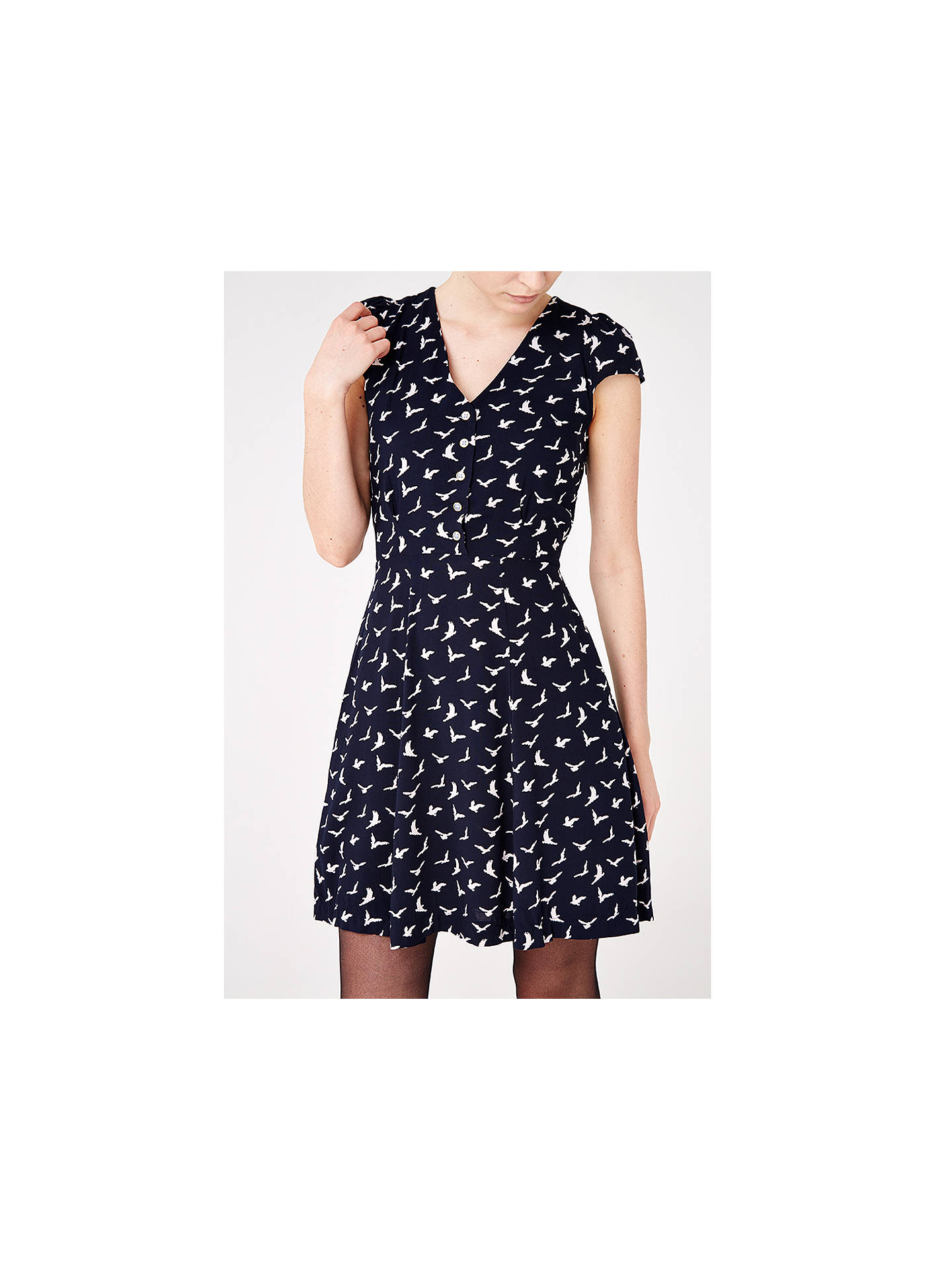 Buy Louche Bird Print Dress, Navy, 8 Online at johnlewis.com